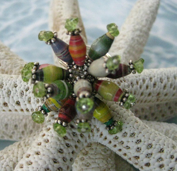 Paper Beads Dangle Ring