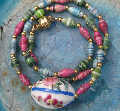 Ceramic Pendant strung on Petite paper beads