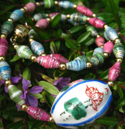 Easter Egg Paper Beads Necklace