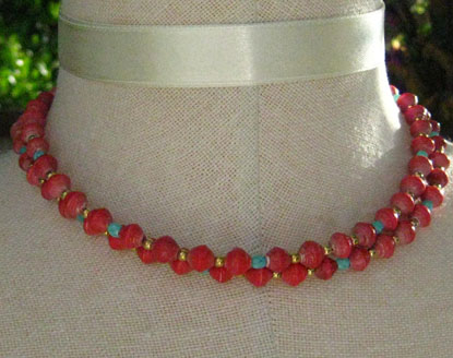 Two Strand Necklace made of Red Paper Beads