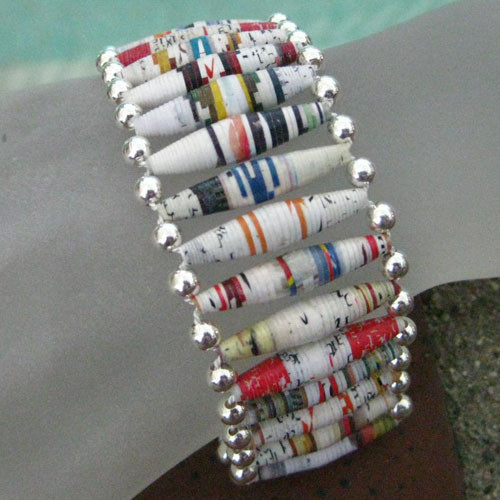 Paper bead tube (aubreysbeads.com) in festive colors