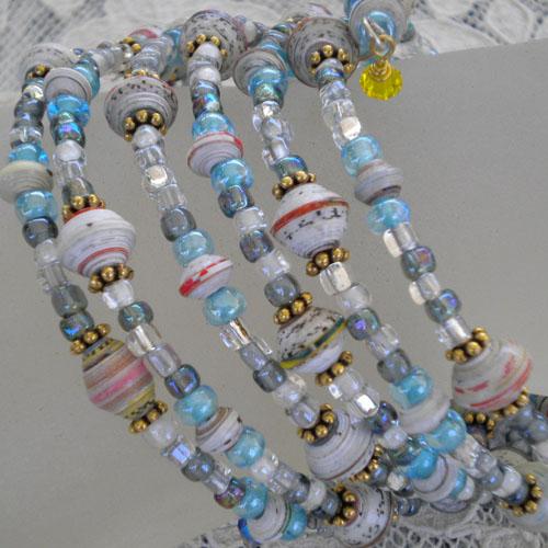 Memory wire bracelet with 7mm paper beads (aubreysbeads.com)