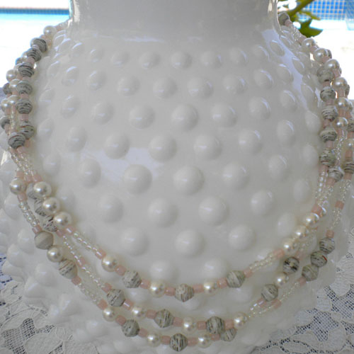 Three Strand Paper Bead Necklace
