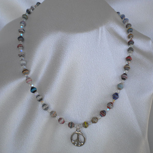 Peace sign necklace with paper beads and fire polished crystals