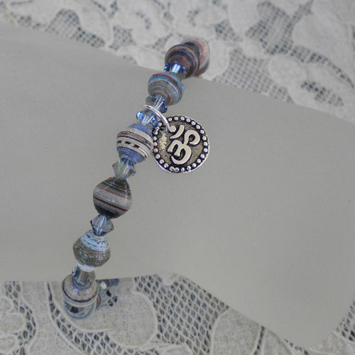 Paper bead bracelet with fire polished cyrstals and Om charm
