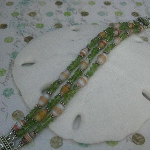 Pistachio Paper Bead Bracelet
