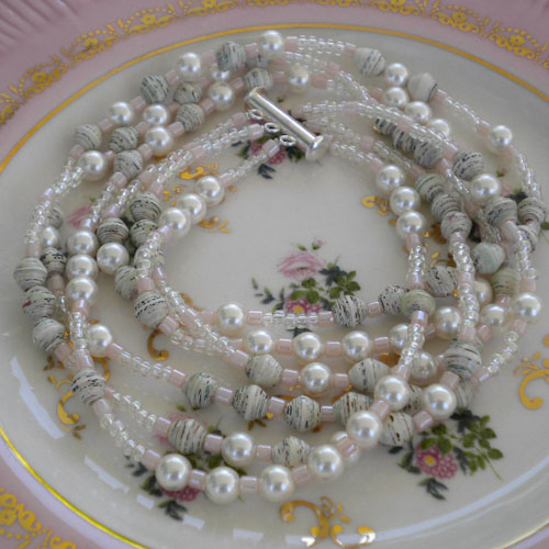 Paper Beads and Glass Pearls 3 strand Necklace