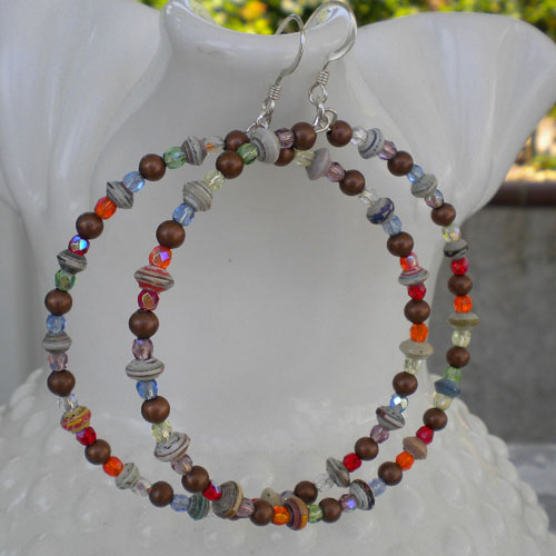 Tiny Paper Beads Big Hoop Earrings Paperbeads Paper Beads