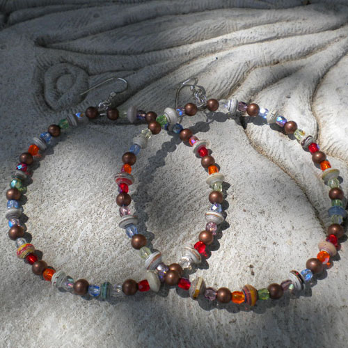 Big and Bold and yet lightweight, paper bead hoop earrings
