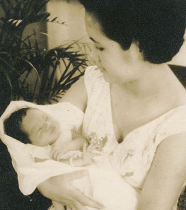 My mother Letty and me at 7 days old