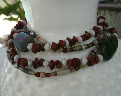 Paper Bead Necklace inspired by the Red Rocks Canyon