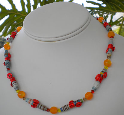 Necklace made of Hour Glass Shaped Bead