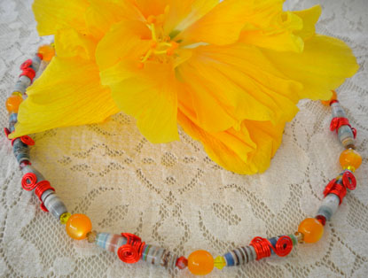 Hour Glass Shaped Bead Necklace w/ orange craft wire