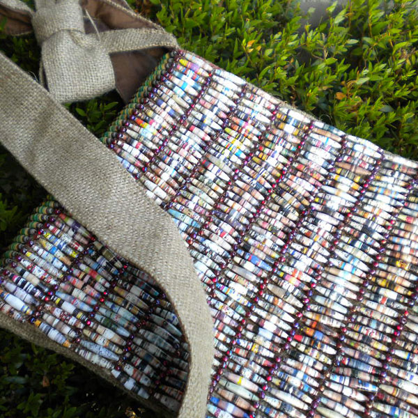 Paper Beaded Messenger Bag