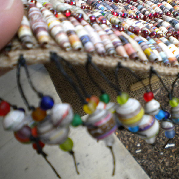 Paper bead tassels using round beads and seed beads