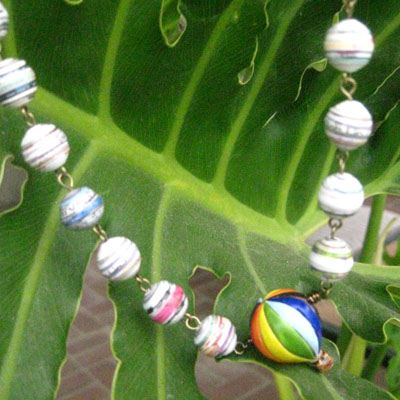 Paper Bead Balloon Necklace