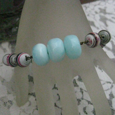 Paper Bead Bracelet and amazonite