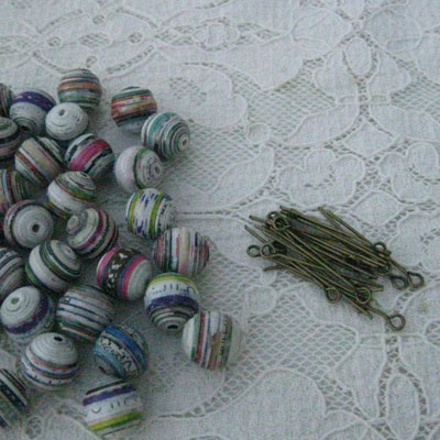 Paper beads and eye pins