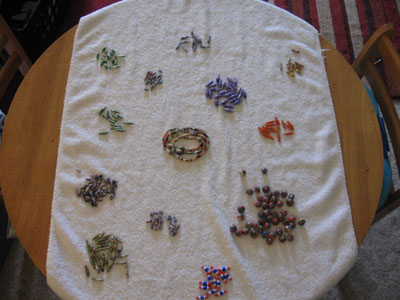 work surface with finished beads