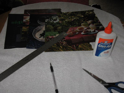 work surface with work supplies