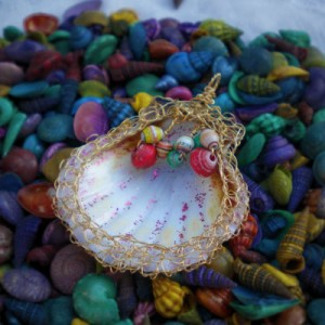 Paper Bead In A Shell Pendant