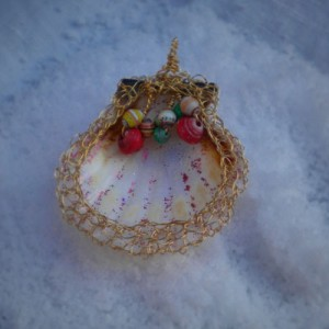 Paper Bead And Shell Pendant